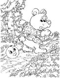 Roly-Poly and Bear. Black-and-white illustration (coloring page): Roly-Poly meets Bear on a forest path (nursery tale characters Royalty Free Stock Images