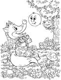 Roly-Poly and Fox. Black-and-white illustration (coloring page): Roly-Poly talks to Fox in a forest (nursery tale characters Royalty Free Stock Photography