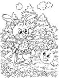 Roly-Poly and Hare. Black-and-white illustration (coloring page): Roly-Poly meets Hare on a forest path (nursery tale characters Stock Photos