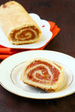 Roly-Poly. With marmalade on plate Stock Image