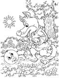 Roly-Poly and Wolf. Black-and-white illustration (coloring page): Roly-Poly meets Wolf on a forest path (nursery tale characters Royalty Free Stock Photography