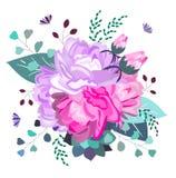 Romántico floral del vector, rosa y composición púrpura Flores de moda, suculentas, hojas, verdor Verano, primavera, diseño de la ilustración del vector
