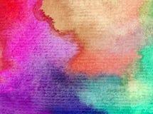 Romántico fresco de la naturaleza del fondo del arte de la acuarela del cielo de la salida del sol colorida delicada del día Fotos de archivo