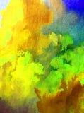 Romántico fresco de la naturaleza del fondo del arte de la acuarela de los árboles coloridos delicados del otoño Foto de archivo