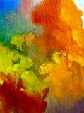 Romántico fresco de la naturaleza del fondo del arte de la acuarela de los árboles coloridos delicados del otoño Foto de archivo libre de regalías