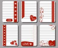 Romántico y ame las tarjetas, notas, etiquetas engomadas, etiquetas, etiquetas Imagen de archivo