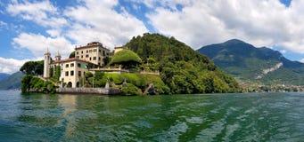 Romântico Casa de campo del Balbianello, Lago di Como, Lombardia, Itália imagem de stock