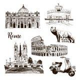 Rom-Architektursymbole: Kolosseum, St. Peter Cathedral, Wolf, romulus, Vektorskizzenillustration des Rollers usw. gezeichnete lizenzfreie abbildung