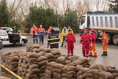 Rom bereitet sich zur Überschwemmung von Tiber vor Lizenzfreies Stockfoto