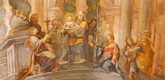 Rom - das Fresko die Darstellung von Christus im Tempel im Seiten-cahpel der Kirche Chiesa San Marcello al Corso Stockbild
