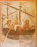 Rom - das symbolische Fresko des Papstes auf dem Schiff der Kirche in den Kirche Basilikadi Santi Quattro Coronati Lizenzfreie Stockbilder