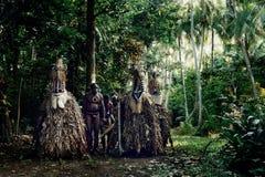 ROM-de dansers en een dorpsleider wachten om een magische dans bij de rand van het regenwoud uit te voeren royalty-vrije stock afbeelding