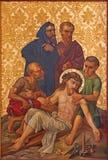 Rom - der Jesus genagelt auf die Querfarbe vom Ende von 19 cent in der armenischen Kirche unserer Dame Of The Spasm Lizenzfreie Stockfotos