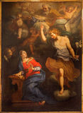 Rom - die Ankündigungsfarbe auf dem Hauptaltar von Kirche Chiesa-Di Santa Maria Annunziata durch unbekannten Künstler von 17 cent Lizenzfreies Stockfoto