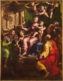 Rom - die Malerei auf dem mian Altar heiliges Conversaton mit den sanints Kennzeichen und John in Kirche Chiesa-Di Santa Maria-en Stockbild