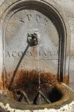 Rom, ein alter Brunnen des Marmors mit fließendem Wasser und SPQR Stockfoto
