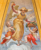 Rom - fresco of angels with flowers in Thomas of Villanova side chapel by unknown artist of 19. cnet. in Basilica di Sant Agosti Stock Photo