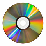 ROM iridescente do CD no branco Foto de Stock Royalty Free