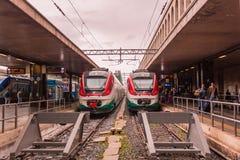 01 11 2018 ROM, ITALIEN bildet Leonardo Express aus, der Rom-am Hauptbahnhof Roma Termini geparkt wird lizenzfreies stockbild