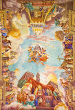 ROM, ITALIEN: Fresko-Triumphe der Kirche über den Osmanen 1957-1965 auf Wölbung von Kirche Basilikadi Santa Maria Ausiliatrice Lizenzfreies Stockfoto