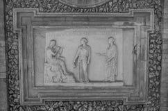 ROM, ITALIEN - JULI 2017: Alte Skulpturmalereien auf einem Fragment der Wand im Landhaus Doria-Pamphili in Rom, Italien Lizenzfreie Stockfotografie