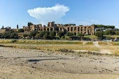 ROM, ITALIEN - 22. JUNI 2017: Erstaunlicher Panoramablick des Zirkusses Maximus in der Stadt von Rom Stockbild