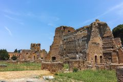 ROM, ITALIEN - 24. JUNI 2017: Panoramablick von Ruinen in Palatine-Hügel in der Stadt von Rom Lizenzfreies Stockbild