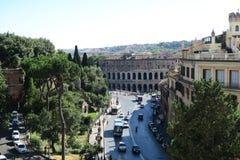 Rom Italien am 18. Juni 2016 Theater von Marcellus-Ansicht vom Capitol Hill Lizenzfreie Stockfotos