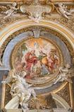 ROM, ITALIEN - 12. MÄRZ 2016: Das Fresko der Prophezeiung zu SS Joachim und Anna in Kirche Chiesa-Di Santa Maria-engem Tal Orto d Lizenzfreie Stockbilder