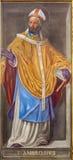 ROM, ITALIEN - 9. MÄRZ 2016: Das Fresko des Doktors der Kirche St Ambrose in Kirche Chiesa-Di Santa Maria in Aquiro Stockbilder