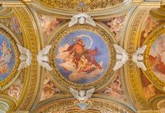 ROM, ITALIEN - 12. MÄRZ 2016: Der Johannes das Baptistfresko auf der Seitenkuppel in Chiesa-Di Santa Maria del Orto Stockbild