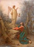 ROM, ITALIEN: Malerei Christus im Garten von Gethsemane in der Kapelle von St Paul des Kreuzes von Basilikadi Santi Giovanni e Pa stockfotografie