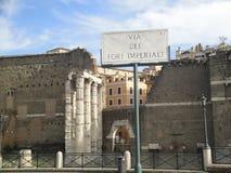 Rom, Italien, römische Straße von Kaiserforen Stockfotografie