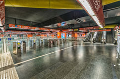 ROM - 20. MAI 2014: Innenraum der Stadt-U-Bahn Die Stadt ist visite Lizenzfreies Stockfoto