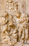 Rom - marble relief of Adoration by the Shepherds in church Chiesa di Santa Maria della Vittoria by Etienne Monnot (1657 - 1733). Royalty Free Stock Photography