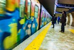 Rom-Metro-U-Bahngraffiti stockfotos