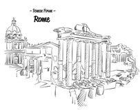 Rom Roman Forum Sketch Famous Landmark Lizenzfreie Stockbilder