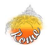 Rom-Skyline-Reise Logo Sketch Lizenzfreie Stockfotografie