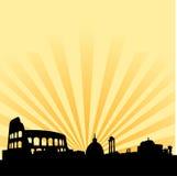 Rom-Skylinevektorschattenbild lizenzfreie abbildung