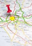 Rom steckte auf eine Karte von Europa fest Lizenzfreie Stockfotografie
