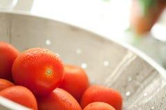 Rom-Tomaten im Colander mit Wasser-Tropfen Lizenzfreies Stockfoto