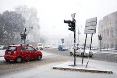 Rom unter starken Schneefällen lizenzfreies stockbild