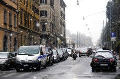 Rom unter starken Schneefällen Stockfotos