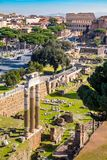Rom von oben Vogelperspektive von Rom Roman Forum und von Colosseum Stockfotografie