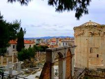 Romańska agora i wierza wiatry w Plaka okręgu, Ateny Grecja zdjęcie royalty free