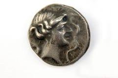 Romańska srebna moneta, oryginał, odizolowywający Zdjęcia Stock