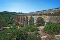 Romański akwedukt «El ponte Del Diablo «most diabeł blisko Tarragona fotografia stock