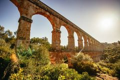 Romański Akwedukt Pont Del Diable w Tarragona, Hiszpania fotografia stock