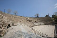 Romański amfiteatr przeciw niebieskiemu niebu, Tunis, Tunezja zdjęcia stock