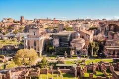 Romański forum punkt zwrotny Rzym w Włochy zdjęcie stock